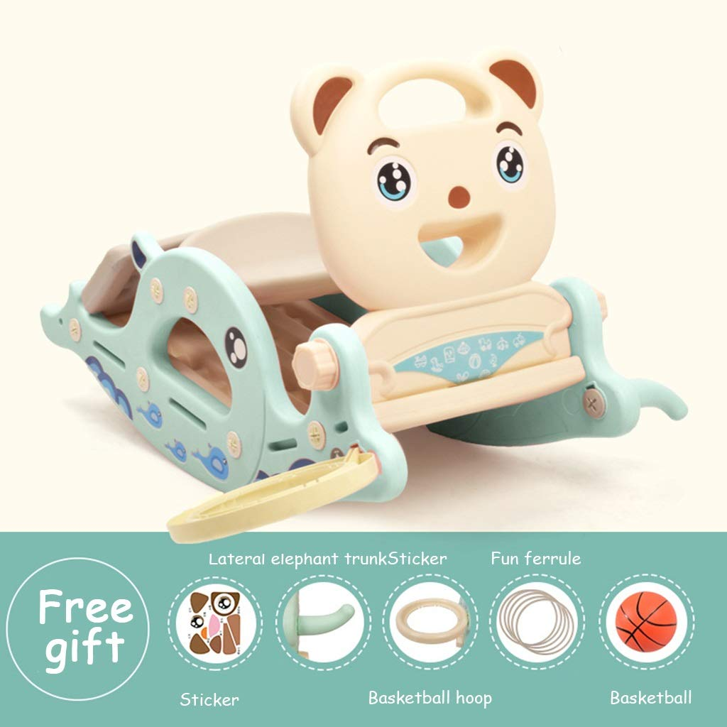 bluee 5 Friendship Shop- Kid Multi-Function Rocking Horse, Music Slide Toy Wooden Horse Rocking Chair (color   bluee, Size   8)