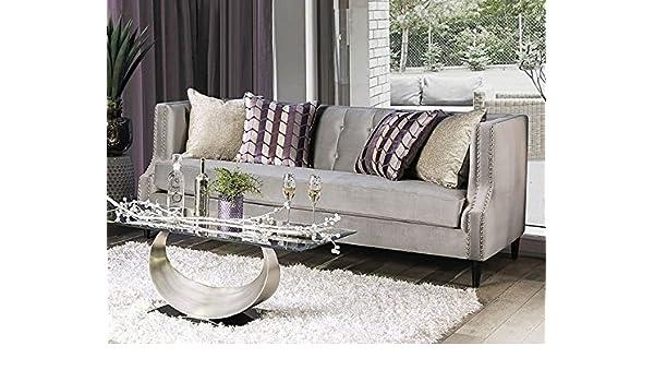 Amazon.com: Tegan Gray Microfiber Sofa (Oversized) by Furniture of ...