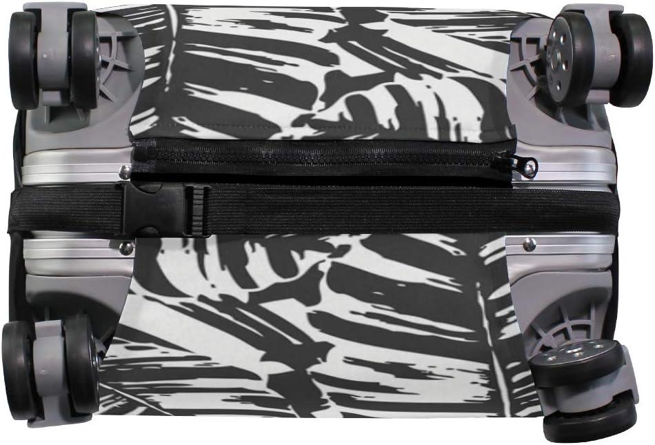 FANTAZIO Black White Banana Leaf Suitcase Protective Cover Luggage Cover