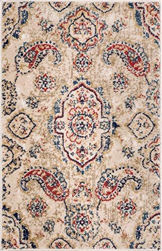 Vijaya Medallion Beige Vintage Persian Floral Oriental Paisley Doormat Rug 2x3 ( 20