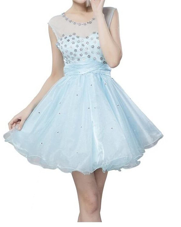 SimpleDressUK Mini Sexy Aqua Hand Beaded Crystals Organza Tulle Prom Dress