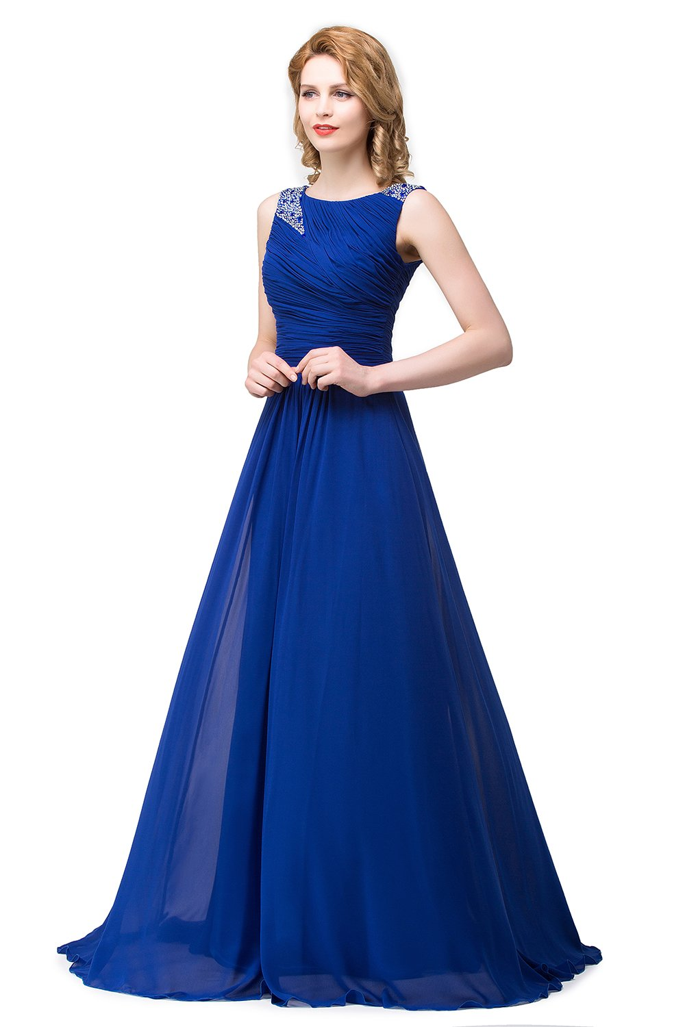 Christmas Big Promotion !Best Gift For Christmas! Elegant Royal Blue Chiffon Prom Dress Long Ruched Evening Gowns With Beadings (2, Royal Blue)