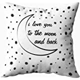 Capsceoll i love you to the moon and back Decorative Throw Pillow Case 16X16Inch,Home Decoration Pillowcase Zippered Pillow Covers Cushion Cover with Words for Book Lover Worm Sofa Couch