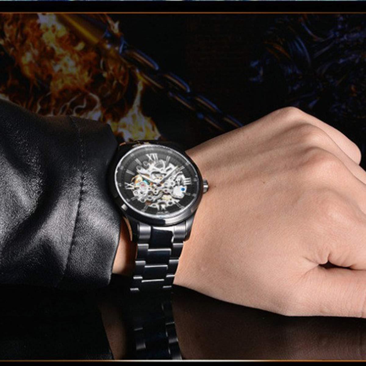 Angela Bos män klocka topp märke klocka vattentät mode automatisk mekanisk armbandsklocka för män klocka skelett svart guld Colorb