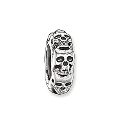 daf1ea512 Thomas Sabo Women Stopper Skull 925 Sterling Silver, Blackened, Silicon  KS0008-648-12: Amazon.co.uk: Jewellery