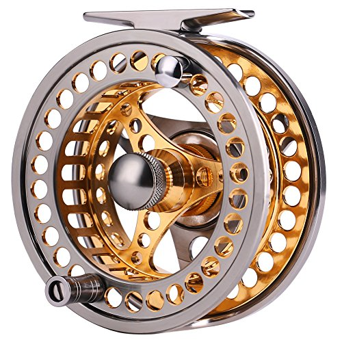 Sougayilang Fly Fishing Reel Large Arbor 2+1 BB with CNC-machined Aluminum Alloy Body and Spool in Fly Reel Sizes 7/8 ...