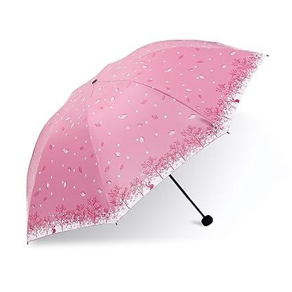 Paraguas plegable Sombrilla uso doble para niñas pequeñas Sombrilla plegable de sol UV UV para sol