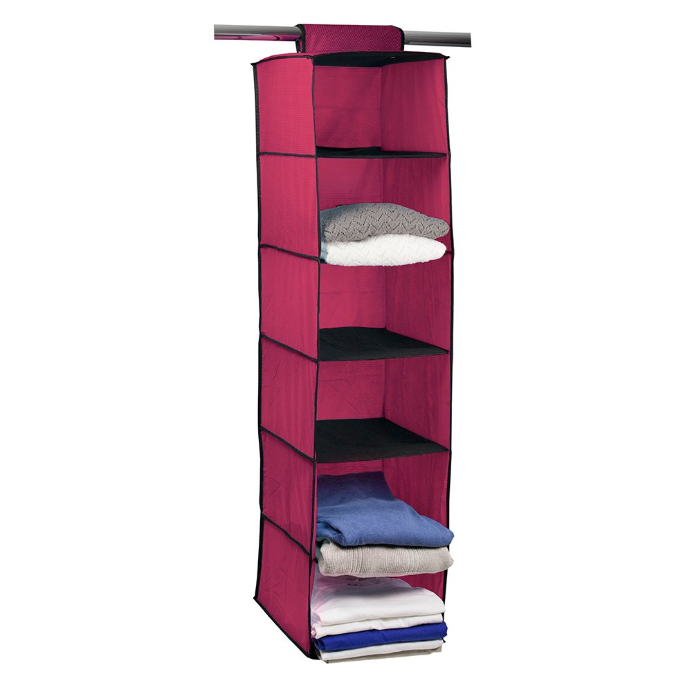 Campus Linens Hanging Garment Organizer for College Dorm Storage (Color Deep Pink)