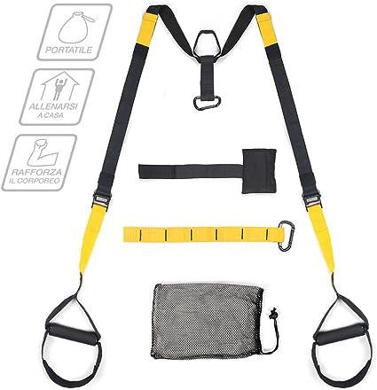Multifun Suspension Fitness, Entrenamiento de techo 200 kg Max, Strap Training portátil, suspension trainer con anclaje para puerta