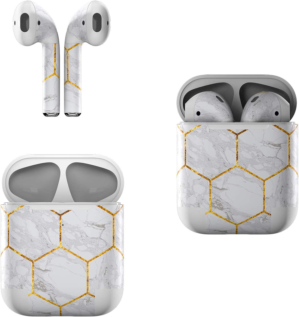 Skin Decals for Apple AirPods - Honey Marble - Sticker Wrap Fits 1st and 2nd Generation
