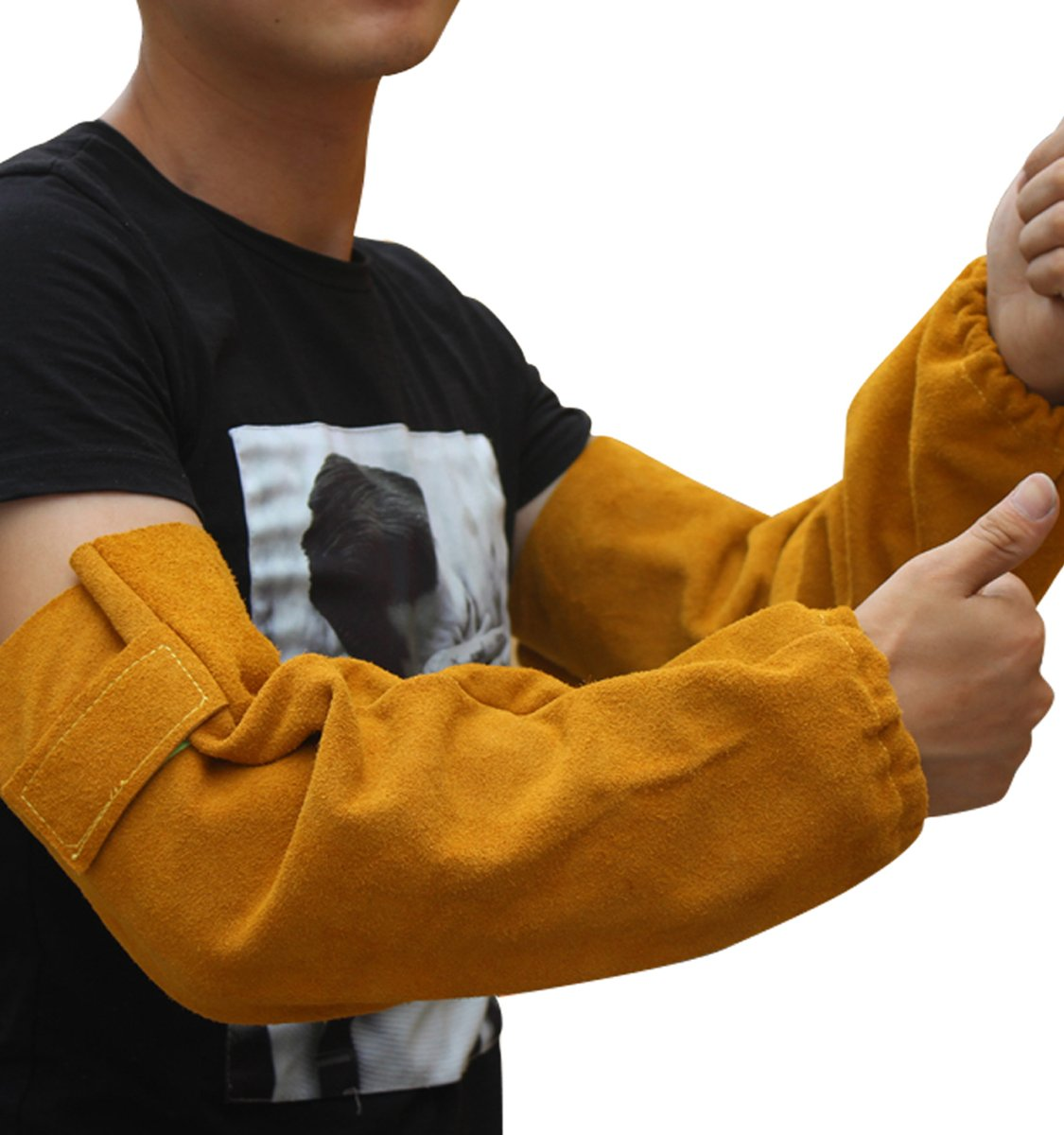 Heat Resistant Leather Welding Sleeve For Welder Arm Protective Elastic Cuff