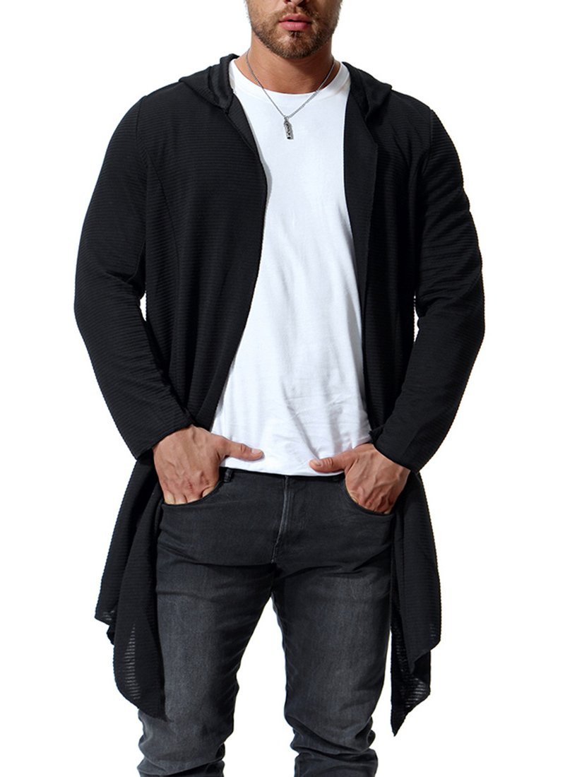 LAICIGO Mens Hoodies Open Front Cardigan Ruffle Shawl Collar Long Sleeve Longline Knit Sweaters