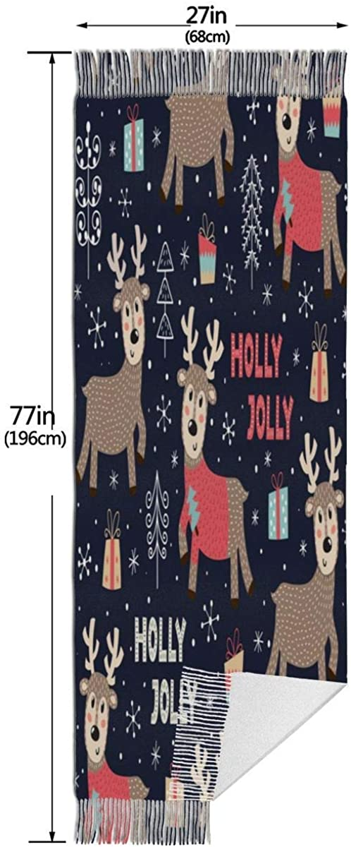 Christmas Seamless Pattern Cute Dee Warm Soft Cashmere Shawl Wrap Scarves Long Scarves For Women Office Worker Travel
