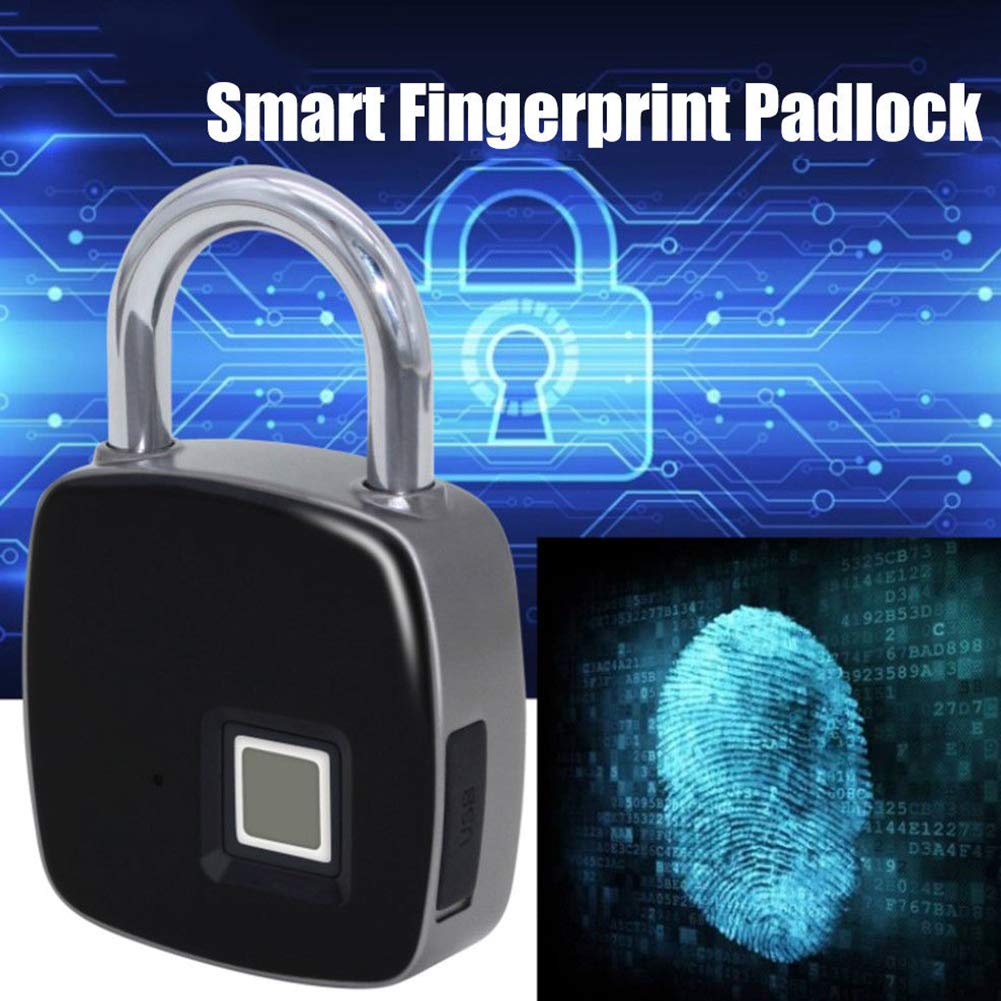 Smart Fingerprint Padlock, Fast Unlock Waterproof Smart Lock Anti-theft Security Travel with Long Standby Time & USB Charging for Door Gym Luggage