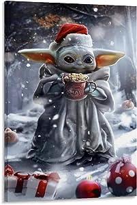 SSKJTC ModernLivingRoomAbstractCanvas Baby Yoda Christmas Art Art 12x18inch(30x45cm)