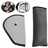 Car Seat Belt Covers, KKtick Belt Strap Cover Headrest Neck Support with Adjust Car Safety Cover Strap for Children Baby Adult ( Grey)