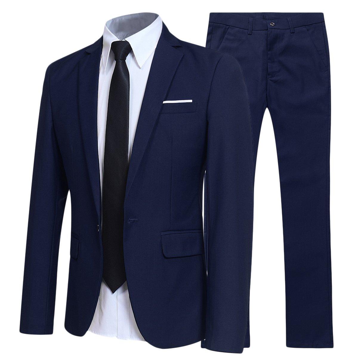 YFFUSHI Slim Fit 2 Piece Suit For Men One Button Casual/Formal/Wedding Tuxedo,Navy,Medium