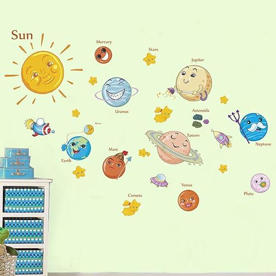 Precioso sistema solar pegatinas de pared para habitaciones de los ...