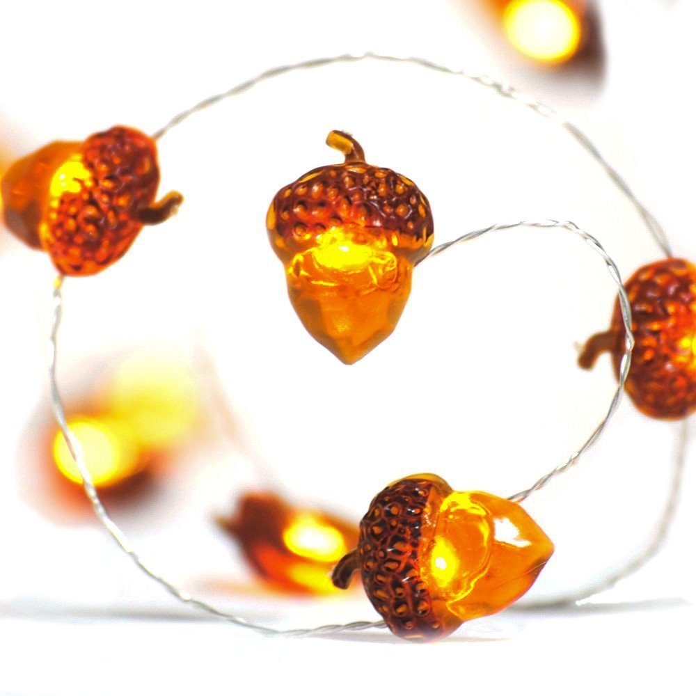LED String Lights 40 LEDs Acorn Lights String Battery-Powered 10ft Copper Wire Lights for Ice Age, Thanksgiving, Bedroom, Christmas Tree Decorations with Dimmable Remote & Timer