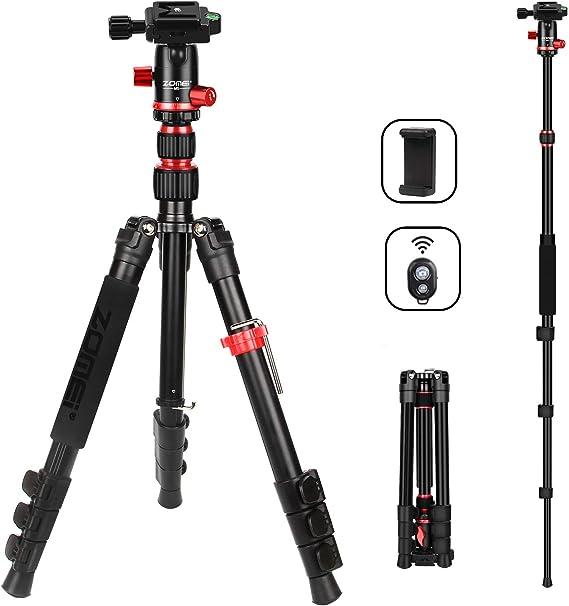 ZOMEi M5 Camera Tripod Lightweight Travel Tripod Monopod 2 in 1 Portable Camera Tripod Stand with 360 Degree Ball Head