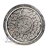 BeldiNest Hand Engraved 19'' Silver Plated Tray Brass Ottoman Tray