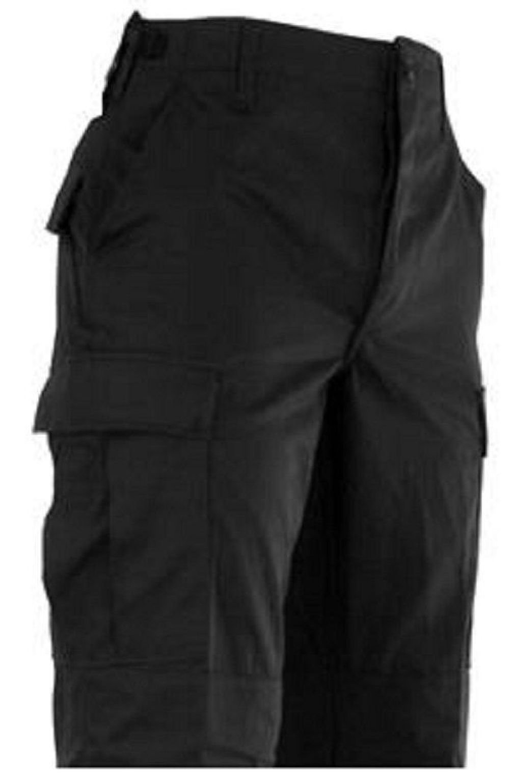 Bellawjace Clothing Black Relaxed Fit Military Zipper Fly X- Long BDU Cargo Shorts Poly/Cot