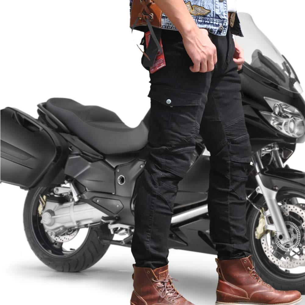 Mens Motorcycle Pants Protection Lining Motorbike Trousers with 2 Pair Protect Pads Black L- Waist 34.5