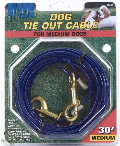 Coastal Pet -Titan Medium Cable Dog Tie Out 30 Feet, for Dogs up to 50lbs by Coastal Pet