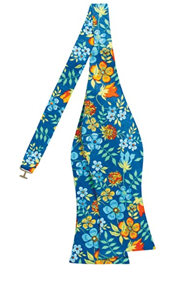 Liberty Pajarita sin anudar azul real con flores Edenham: Amazon ...