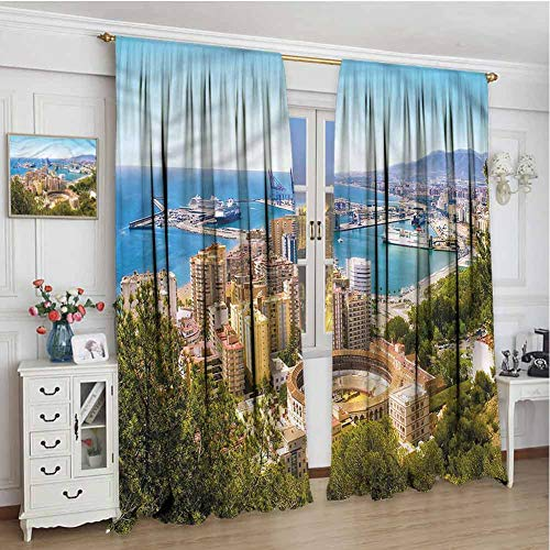 June Gissing Landscape Patio Curtains 72 inch Length, Aerial View of Malaga Dark Out Waverly Curtain 96 x 72 (Malaga Los Patios)