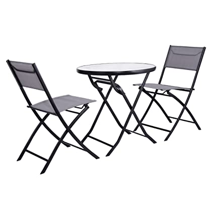 Charmant Folding Table And 2 Chairs Set Metal Tempered Glass Outdoor Patio Garden  Pool