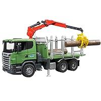 BRUDER - 03524 - Camion de tranport de bois SCANIA R-Serie vert avec grue et rondins de bois