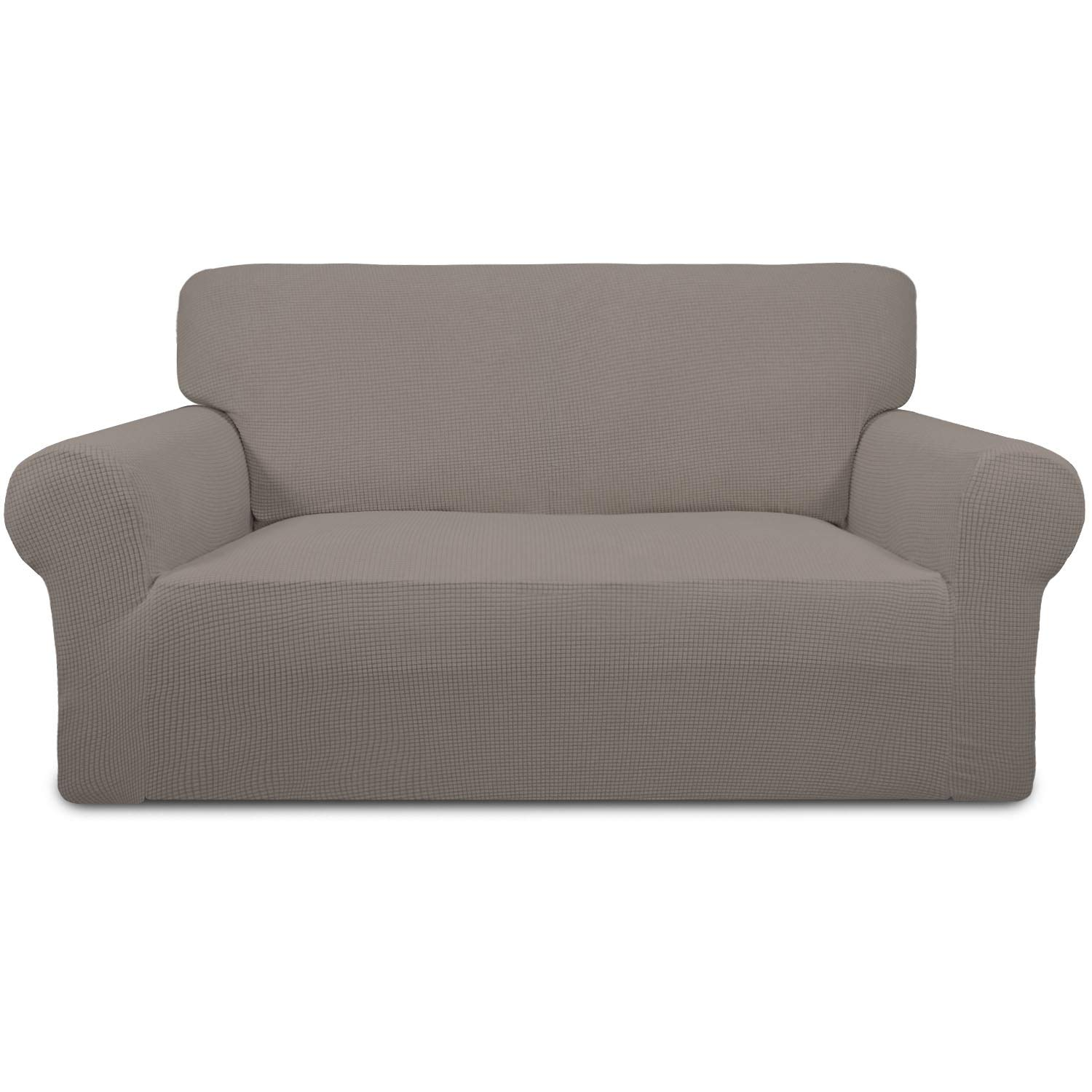 Easy-Going Stretch Sofa Slipcover 1-Piece Sofa Cover Furniture Protector Couch Soft with Elastic Bottom Anti-Slip Foam Spandex Jacquard Fabric Small Checks(Loveseat,Taupe)