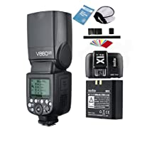 Godox V860II-N 2.4G Inalámbrico TTL Li-on Batería Cámara Speedlite Flash+ Difusor + X1T-N Tranmisor+ Filtros de Color para Nikon(V860II-N)