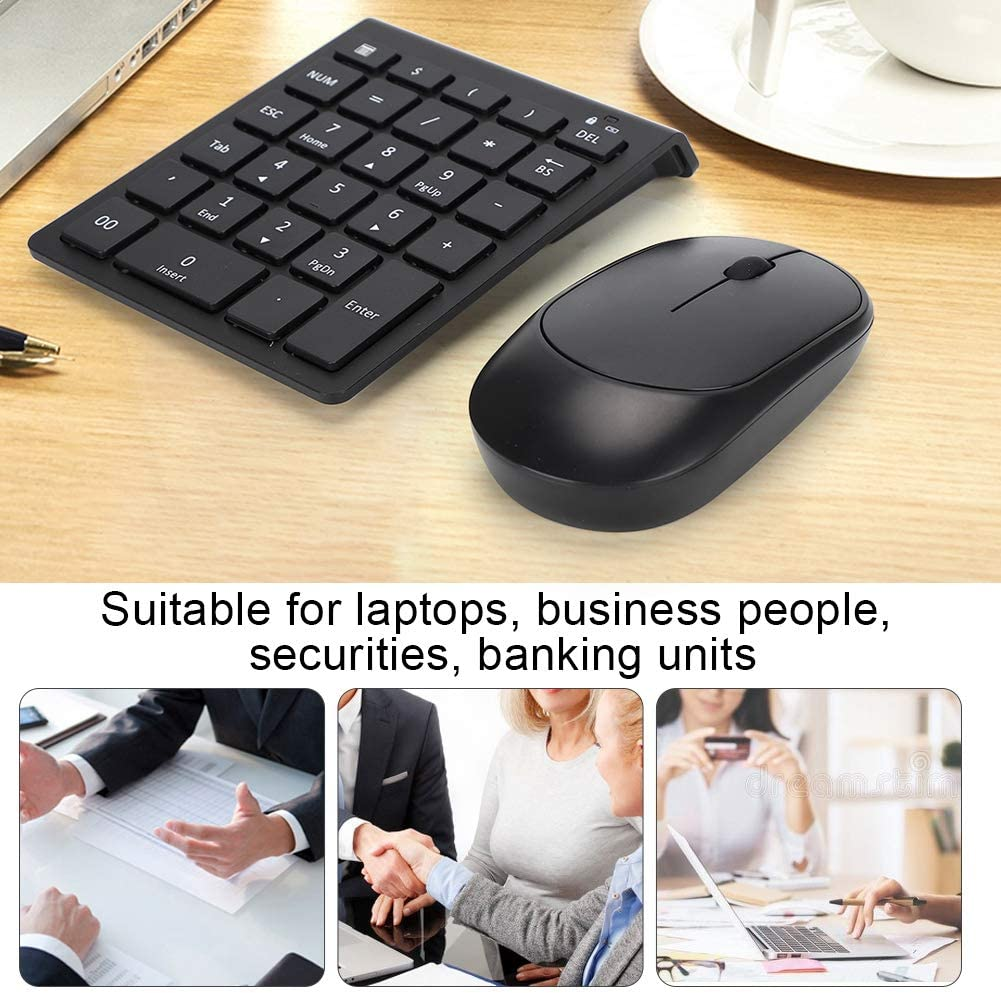 Business People ASHATA Wireless Numeric Keyboard and Mouse Combo Wireless 2.4G Numeric Chocolate Keycap Keypad with USB Silent Mouse Set for Laptops for laptops Banking Units Securities
