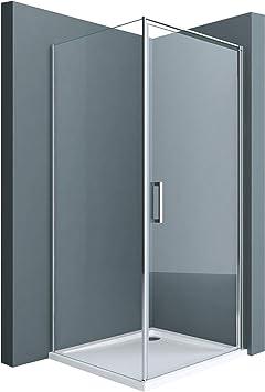doporro cabina de ducha de esquina Ravenna36k 90x100x195cm Mampara de vidrio de seguridad transparente con plato de ducha plano de 4 cm incluye revestimiento para fácil limpieza en ambos lados: Amazon.es: Bricolaje