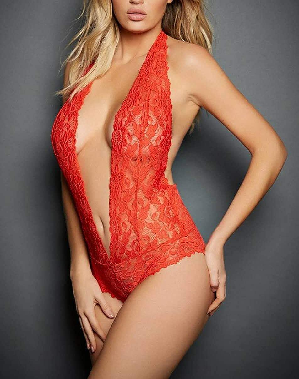 Womens Halter Lingerie Lace Teddy Bodysuit Nightwear Deep V Lace Babydoll Underwear Plus Size