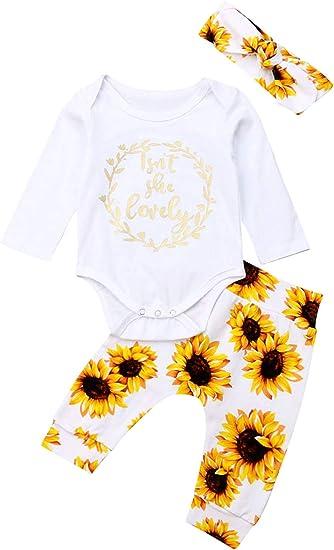 USA Newborn Toddler Baby Girls Cotton Sunflower Romper+Headband Outfits Clothes