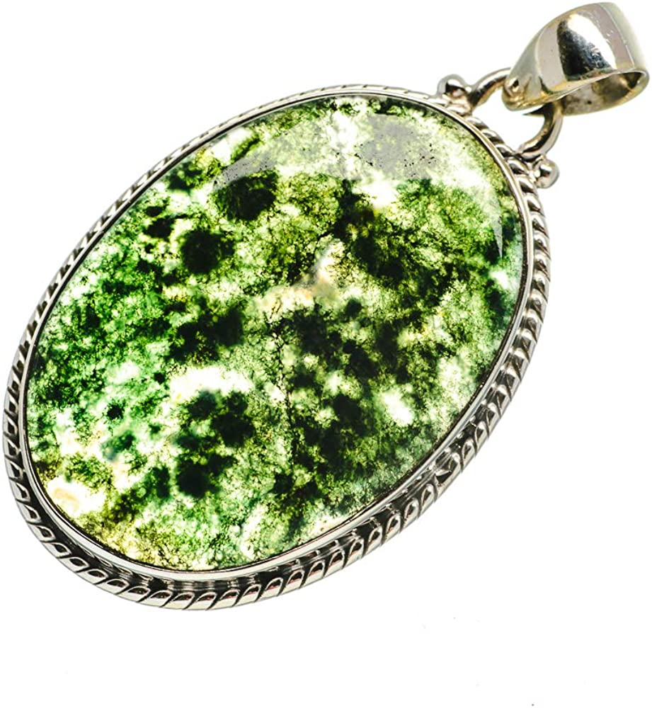 925 Sterling Silver Bohemian Vintage PD693251 Ana Silver Co Green Moss Agate Pendant 1 3//4 - Handmade Jewelry