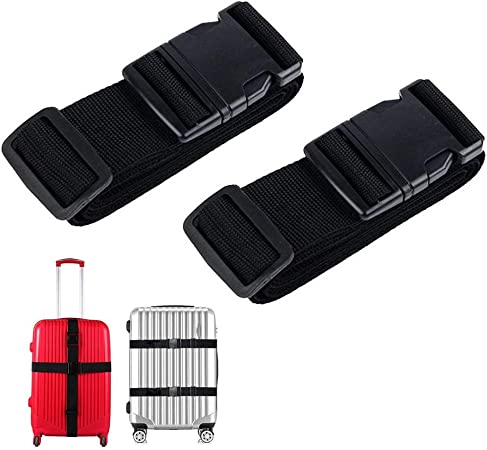 ASOCEA Travel Luggage Security Strap Suitcase Belt Adjustable Packing Belts 2 Pcs Black