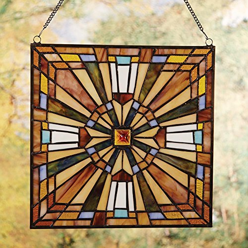 Stained glass mission style multi color glass panel home for Coloured glass panels