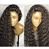 Unprocessed Natural Black Color Brazilian Virgin Human Hair Kinky Curly Full Lace Front Wig (lace front wig, 16inch hair length)