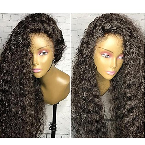 Unprocessed Natural Black Color Brazilian Virgin Human Hair Kinky Curly Full Lace Front Wig (lace front wig, 20inch hair length)