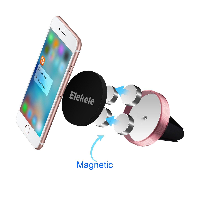 ELEKELE Supporto per Smartphone Clip Magnetica Magnete per Cellulare Calamita per Telefonino Argento Posto Guidatore Presa dAria Universale Supporta Tablet e Smartphone