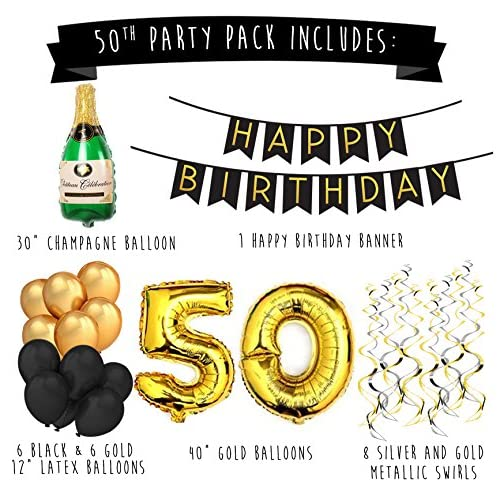 High quality 50th birthday party pack black gold happy for 50th birthday decoration packs