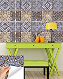 Backsplash Peel and Stick Tile Stickers 24 PC Set (6 x 4PC) Authentic Talavera Tiles Stickers Bathroom & Kitchen Vinyl Tile Decals Easy to Apply Just Peel & Stick (Fire Colors H403, 8x8 Inch)