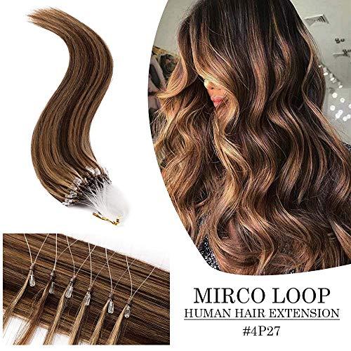 Micro Loop Remy Human Hair Extensions Micro Ring Link Balayage Brazilian Micro Beads Stick Tip Hair 16