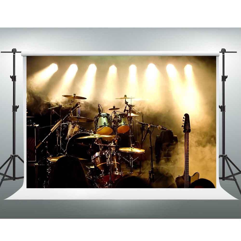 GESEN 7X5ft Music Performance Backdrop Spotlight Drum Guitar Microphone Background Photo Shooting Props XCGE011