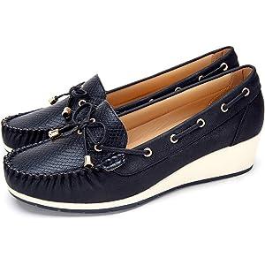 Zapatos Cuña Comodos Náuticos Mujer - Mocasín Cuero de Imitación para Mujer, la Mejor Opción