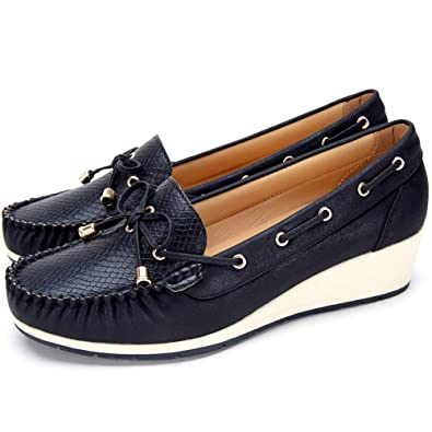 Wedge Loafer Flat Shoes For Women Ladies Comfort Boat Deck Shoes